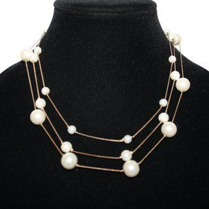 Vintage gold and pearl layered necklace